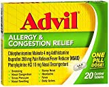 Advil Allergy & Congestion Relief Coated Tablets - 20 ct, Pack of 6