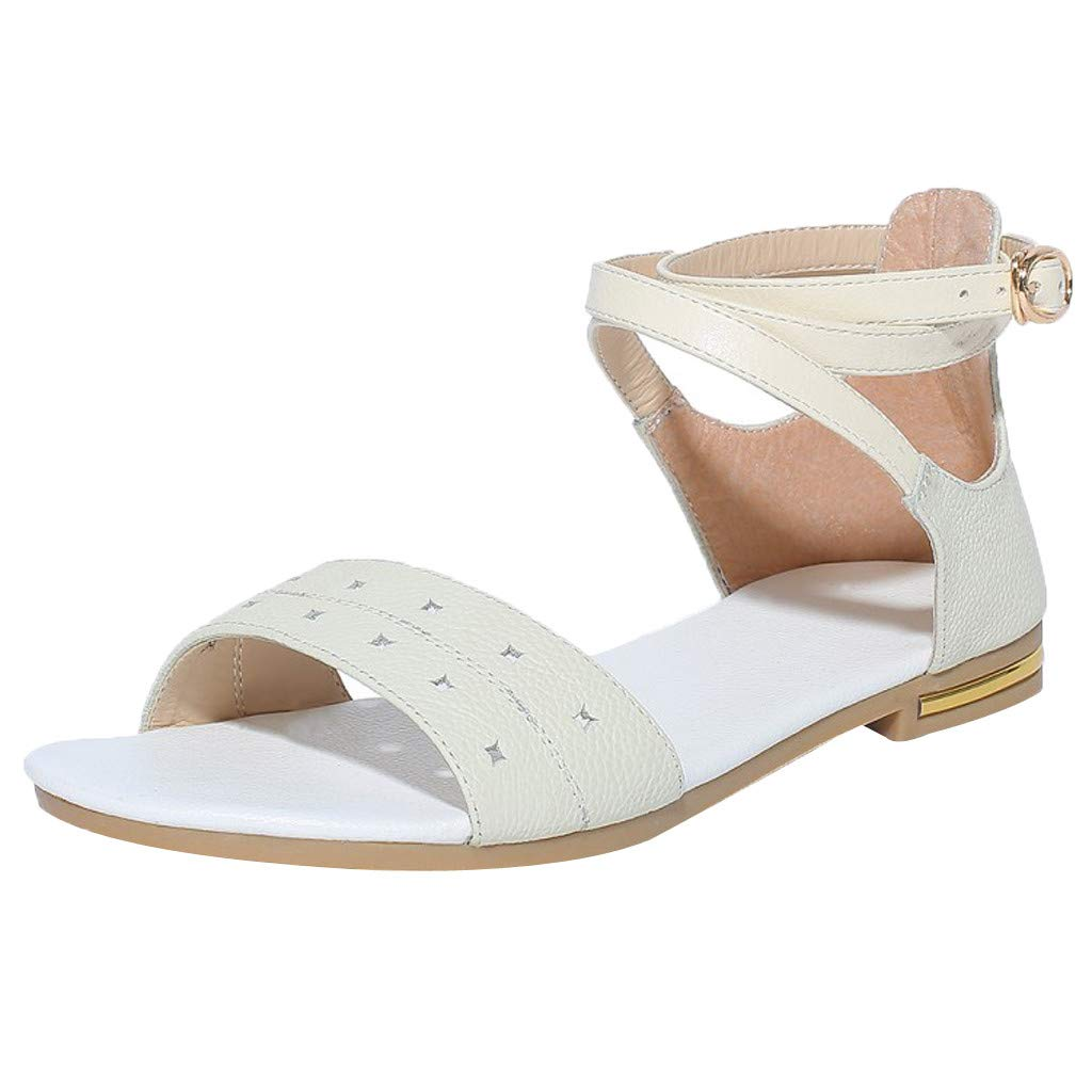 Wkgre Summer Womens Sandals Flatform Studded Wedge Buckle Ankle Strap Open Toe Sandal Large Plus Size Flat Beach Shoes (6, White)