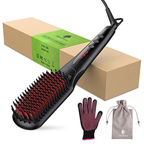MiroPure Ionic Hair Straightener Brush (Black)