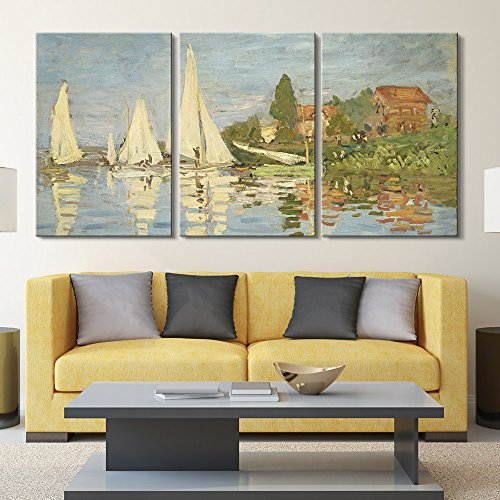 3 Panel Regattas at Argenteuil by Claude Monet x 3 Panels