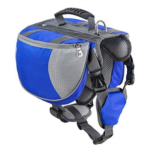 Pet Dog Saddle Bag Pack Backpack Medium Large Big Dogs Bag for Outdoor Hiking Camping Training Pet Carrier Product,Blue,M ()