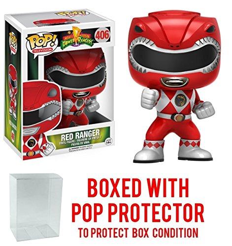 Funko Pop! TV: Mighty Morphin' Power Rangers Red Ranger #406 Vinyl Figure (Bundled with Pop BOX PROTECTOR CASE)