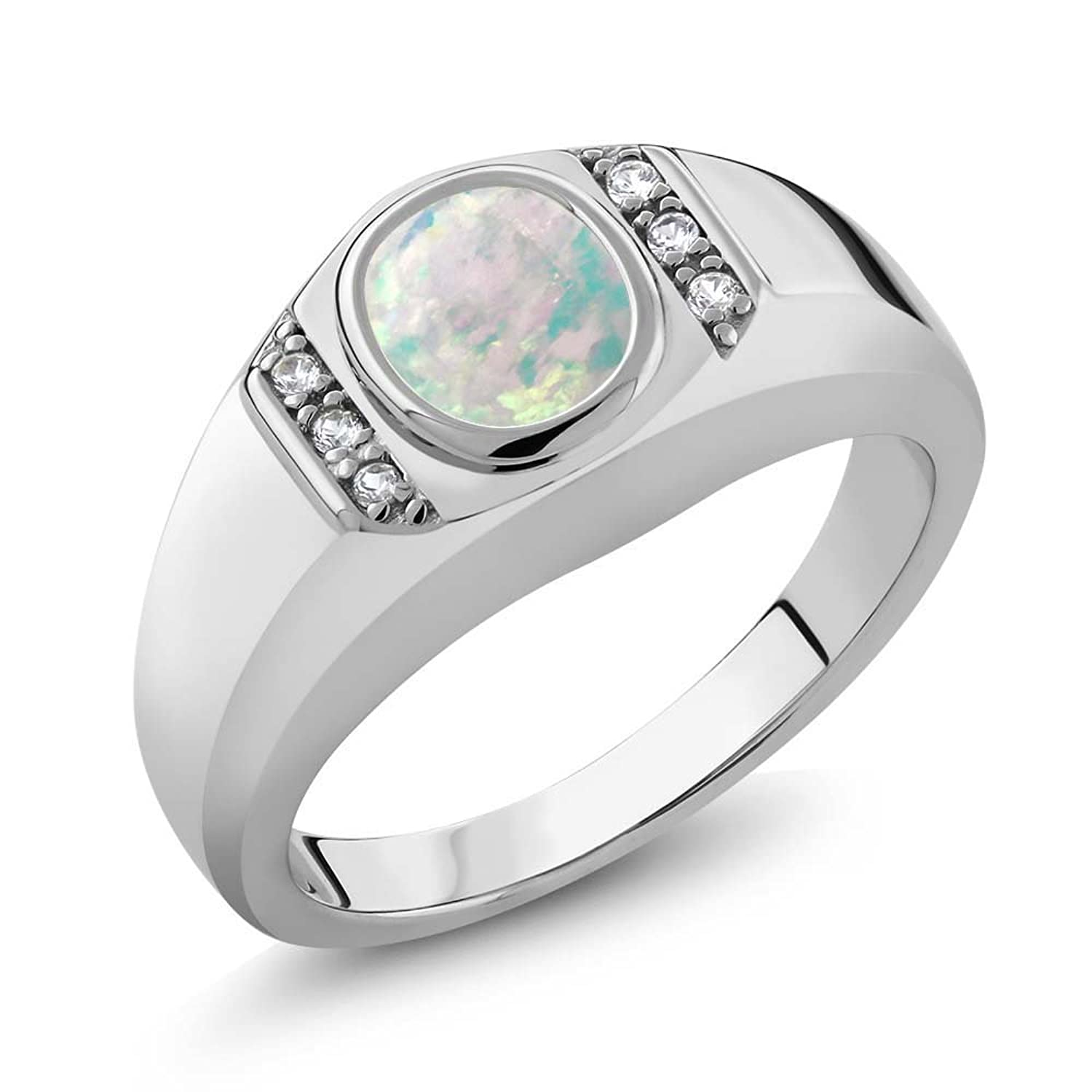 1.11 Ct Oval Cabochon White Simulated Opal White Created Sapphire 925 Sterling Silver Men's Ring