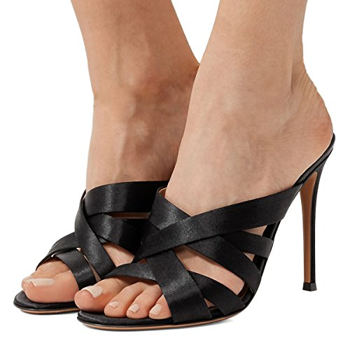 15 Open Women Satin Strappy Toe 4 on Shoes High Sandals Black Mules US Heels Stiletto FSJ Slip Size qtgZwdxq