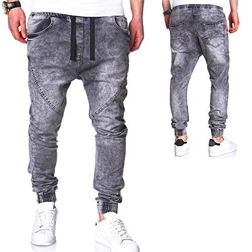 Afflitto Casual Denim Jeans Biker Zip Moto Street Vintage Jeans Wear Fit Wash Elastic Hip Pantaloni Uomo Grigio Slim Hop Sottile Denim Moda 06pq5zx