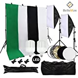 Belle Max Photography Softbox Lighting Kit, Including 2 pcs 28W LED Bulbs, Photo Studio with Adjustable Background Support System with 4 Backdrop (Black/2xWhite/Green), Reflector and Carrying bag.