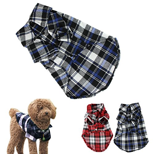 CXB1983(TM)Cute Pet Dog Puppy Clothes Shirt Size XS/S/M/L Blue Red Color (M, Blue) (Clothes Cute Pet)