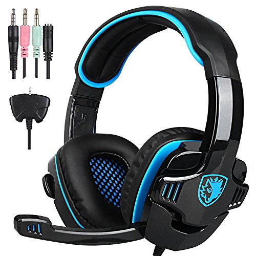 Latest Version PS4 Gaming Headphones, SADES SA708GT 3.5mm Stereo Bass Gaming Headset with Microphone Noise Isolating Volume Control for PC Mac Xbox Phone Table Black Blue