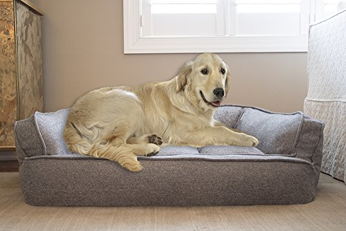 Arlee Memory Foam Sofa Style Pet Bed, Small/Medium, Walnut Tan ()