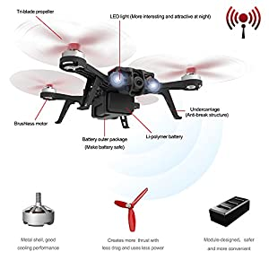 HIOTECH MJX Bugs 8 Pro Drone FPV RC Drone Kit 720P Camera Video 6-Axis Gyro Brushless Motor, Bonus Battery, Quadcopter for Kids Beginners Adults Angle/Acro 3DFlips Alarm (Goggles sold separately) from HIOTECH