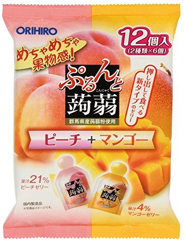 Orihiro plan du Puru do and konjac jelly pouch peach + mango 20gx12 pieces X6 bags