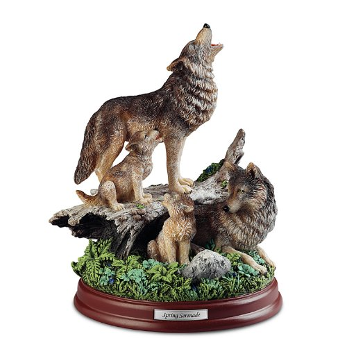 The Bradford Exchange Spring Serenade Wolf Pack Handcrafted Wolf Family Sculpture