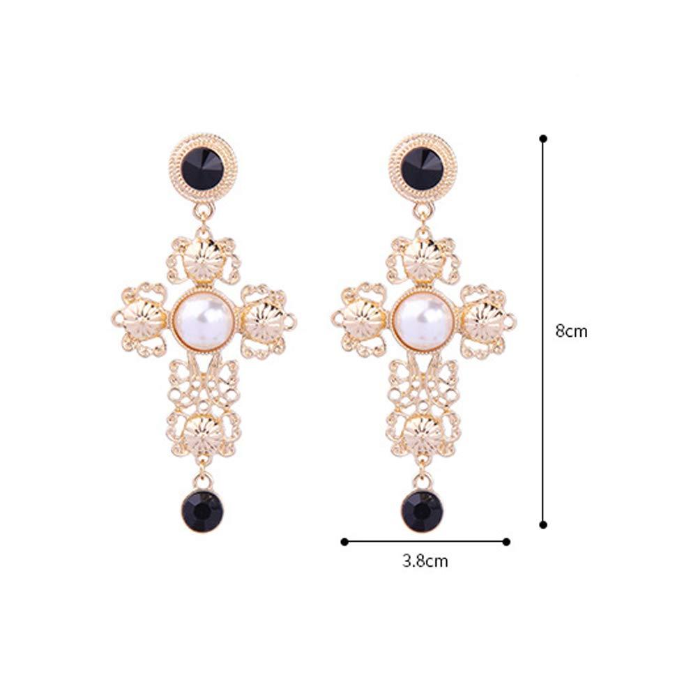 Fashion Feminine Cross Hypoallergenic Stud Earrings Vintage Baroque Pearl earrings