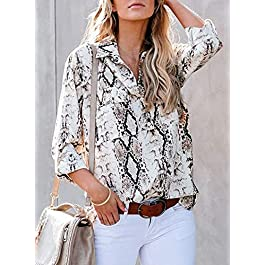 HOTAPEI Womens Summer Casual Tops and Blouses V Neck Button Down Shirts