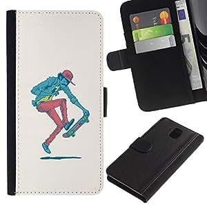 // PHONE CASE GIFT // Moda Estuche Funda de Cuero Billetera Tarjeta de crédito dinero bolsa Cubierta de proteccion Caso Samsung Galaxy Note 3 III / Hipster Skater - Pop Art /