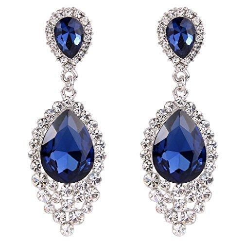 BriLove Women's Wedding Bridal Crystal Teardrop Cluster Beads Chandelier Dangle Pierced Earrings Sapphire Color Silver-Tone (Pierced Earrings Sapphire)