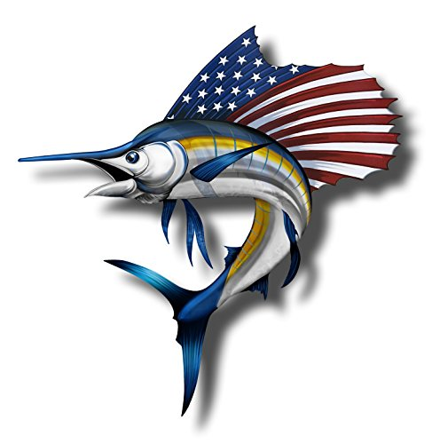 (USA Marlin Fish Sticker Patriotic American Flag Fishing Boating Decal)