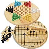 Toys of Wood Oxford Wooden Chinese Checkers and Gobang (Five in a Row) 2 in 1 Board Game-Family Board Games for Kids and Adults