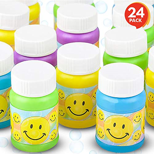 ArtCreativity Smiley Face Bubble Bottles for Kids (Set of 24) | Mini Bubble Blower Bottles with Solution | Birthday Party Favors/ Goody Bag Fillers / Gift Idea for Boys and (Face Goody Bag)