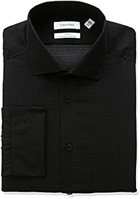Calvin Klein Men's Non Iron Slim Fit Dobby Dot Spread Collar Dress Shirt