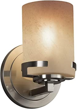 Justice Design Group Lighting FSN-8451-10-OPAL-DBRZ-LED1-700 Fusion Atlas LED 1-Light Wall Sconce Finish with Artisan Glass Opal-Cylinder with Flat Rim Shade Dark Bronze