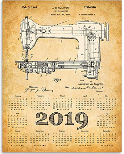 2019 Calendar - Singer Sewing Machine Patent 1946-11x14 Unframed Calendar Art Print - Great Apparel/Accessories Manufacturer Office Decor/Sewing Factory Calendar from Personalized Signs by Lone Star Art