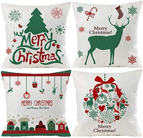 2020 New Merry Christmas Xmas Print Reindeer Pillowcase Cushion Cover Home Decor