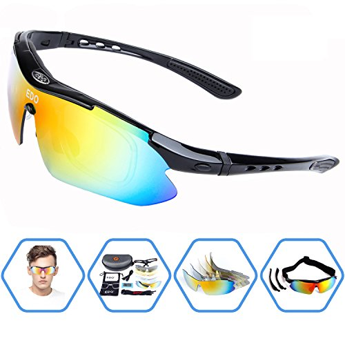 EDO Polarized Sports Sunglasses for Men Women Cycling Running Driving Fishing Golf Baseball Glasses with 5 Interchangeable Lenses, Tr90 Unbreakable - Riding For Bike Sunglasses