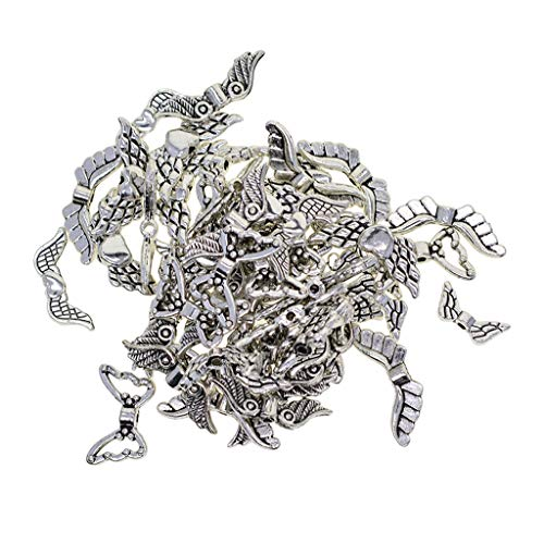 (Prettyia 60 Pack Assorted Style Vintage Tibetan Silver Plated Angel Wing Charm Beads Spacer Jewelry Findings Parts for Jewelry Making Bracelet Necklace Pendant)
