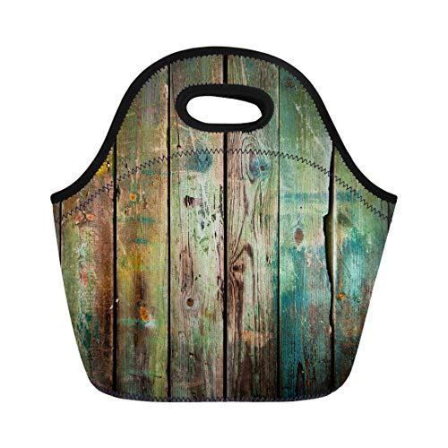 - Semtomn Neoprene Lunch Tote Bag Green Rustic Old Wood Colorful Vintage Antique Rugged Wall Reusable Cooler Bags Insulated Thermal Picnic Handbag for Travel,School,Outdoors,Work