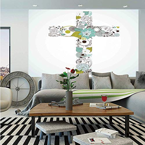Baptism Removable Wall Mural,Cross Made from Flowers Blessing Blossom Newborn Catholic Party Illustration,Self-Adhesive Large Wallpaper for Home Decor 66x96 inches,Seafoam Avocado Green