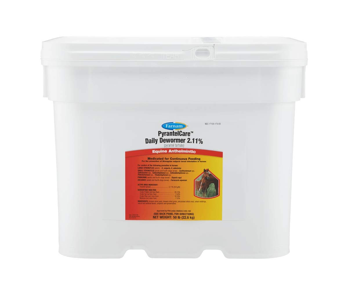 Farnam PyrantelCare Daily Dewormer Pellets, Pyrantel Tartrate 2.11%, Anthelmintic for Horses, All Life Stages, 50 Pound
