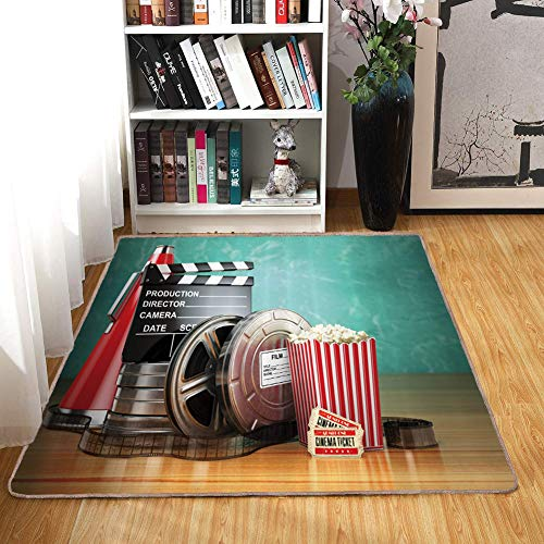 (Rug,Floor Mat Rug,Movie Theater,Area Rug,Production Theme 3D Film Reels Clapperboard Tickets Popcorn and Megaphone,Home mat4'7