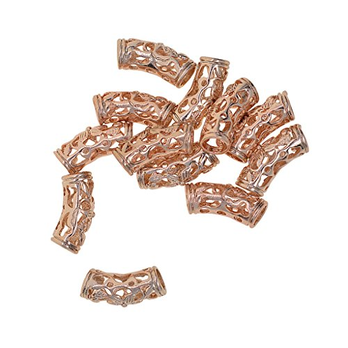 Beads Curve - Fityle 12 Pieces Filigree Carve Curve Tube Spacer Charm Beads Fit European Necklace Bracelet DIY Jewelry Making - Rose Gold