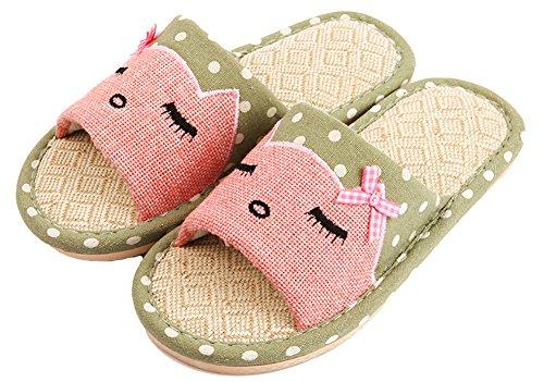 Heren En Dames Cat Print Slippers Hennep Polka-dots Paar Huis Schoenen Groen