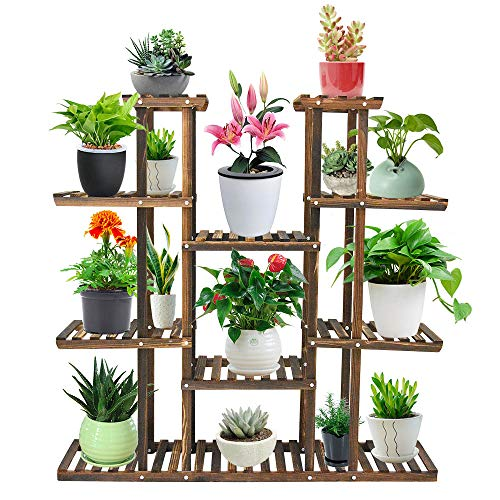 Seeutek 9 Tier Wood Plant Stand Carbonized 17 Potted Flower Pots Organizer Shelf Display Rack 47.2
