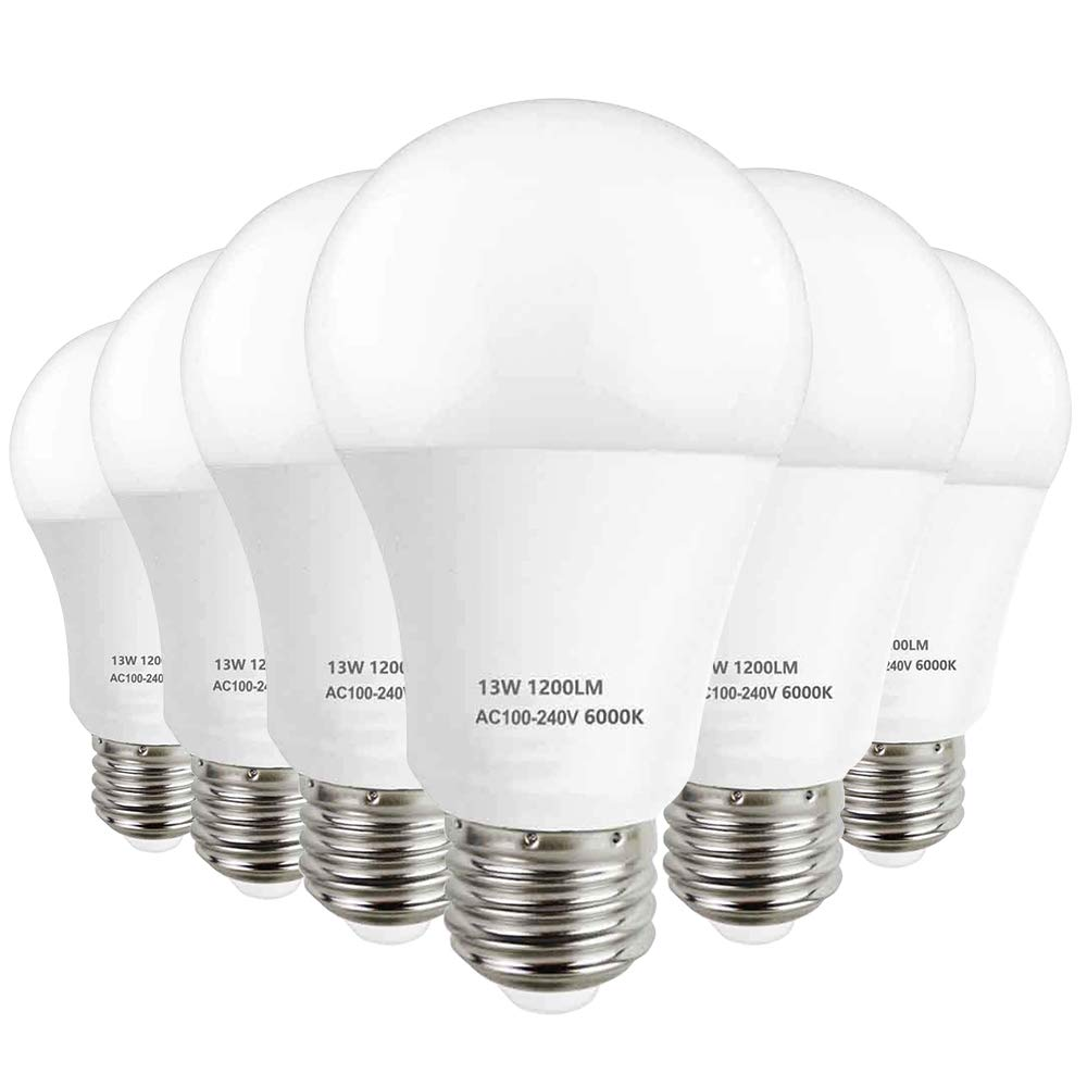 LAKES Bombillas LED E27, A60 13W Equivalante a 100W Bombilla Halógena, Bajo Consume, 6000K Blanco Frío, 1200LM, No Regulable, Paquete de 6