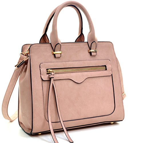 Dasein Women Vegan Leather Handbag Designer Purse Satchel Bag with Crossbody Strap (Pink Box Handbag)