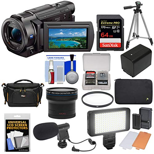 Sony Handycam FDR-AX33 Wi-Fi 4K Ultra HD Video Camera Camcorder with 64GB Card + Case + LED Light + Microphone + Battery + Tripod + Fisheye Lens Kit