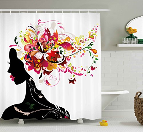 Modern Decor Shower Curtain by Ambesonne, Modern Futuristic Design with Nature Harmony Woman Image, Fabric Bathroom Decor Set with Hooks, 84 Inches Extra Long, Black Ruby and Hot Pink