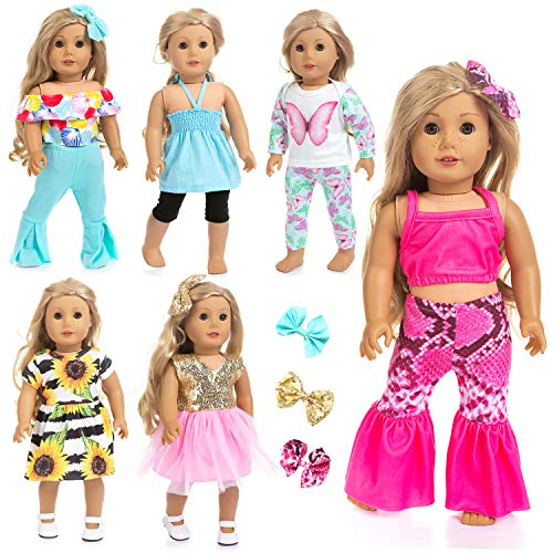 18 Pattern Doll Clothing - Ecore Fun 14 Pcs 18 Inch Doll Clothes Dresses Summer Casual Wear Oufits Pjs for American 18