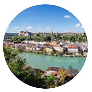 alfombrilla de ratón vista panorámica sobre Burghausen, Baviera, Alemania - ronda - 20cm