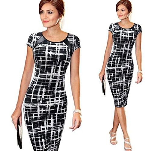 Women Girls Fashion Dress GoodLock Lady Female Bandage Bodycon Short Sleeve Sexy Party Cocktail Pencil Mini Dress (B, Size:M) - Edge Mini Skirt
