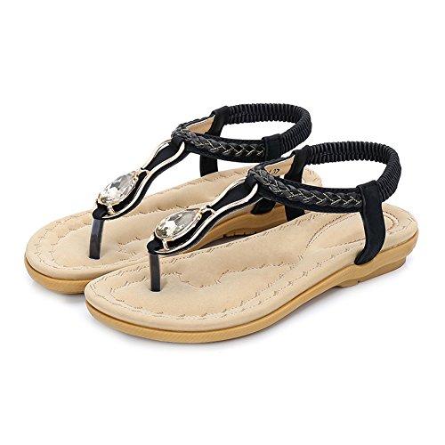 Women Beach Elastic Rhinestones Sandals Woven Braid Honeystore Boho Black Shoes BxdnqWg