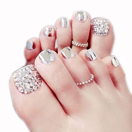 Fliyeong - 24 uñas postizas para dedos de los pies con purpurina ...