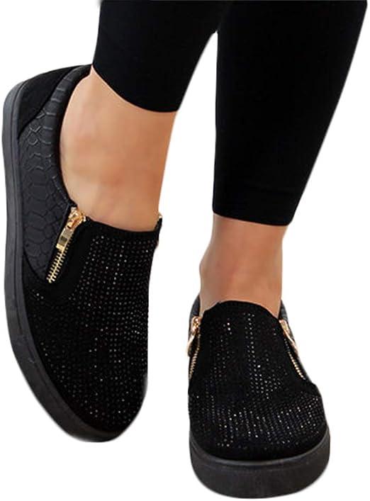 ANIIWO Womens Rhinestones Glitter Sneakers Slides Cute Shining Bowknot Slip-on Platform Work Nurse Flats Loafers Wedding Dress Shoes