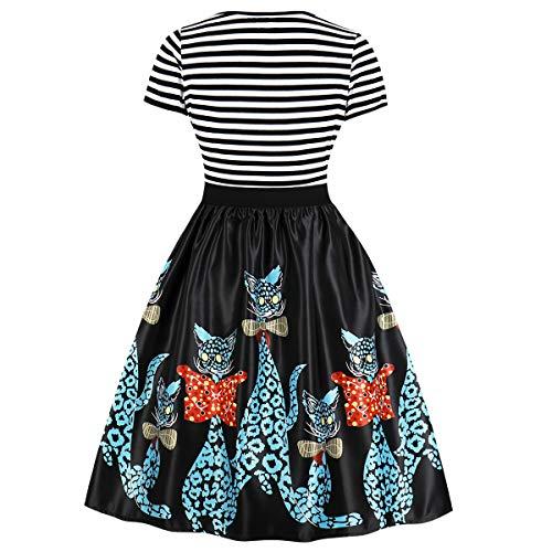 Aecibzo Cou Scoop Bande Vintage Femmes Manches Courtes Robe De Swing Une Ligne Noire-chats
