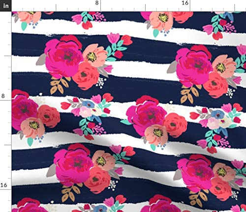 (Floral Fabric - Sweet Pea Stripe Stripes Boho Blue White Pink Flower Navy Print on Fabric by The Yard - Petal Signature Cotton for Sewing Quilting Apparel Crafts Decor)