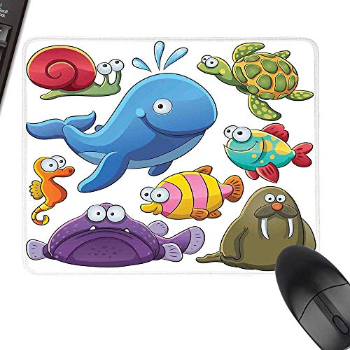 Whale Anti-Slip Mouse Mat Group of Underwater Animals Sea Otter Slug Snail Summer Day Art Illustration with Stitched Edges 35.4
