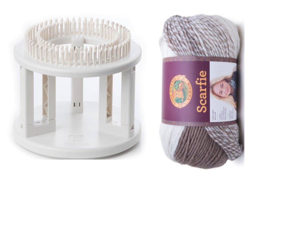 Tejer y lana paquete. Doble Telar de punto con scarfie Chunky ...